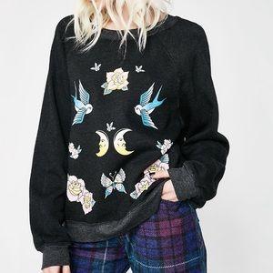 Wildfox Flash Sommers Sweater Sweatshirt Moon Bird